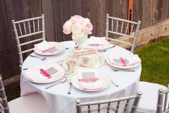 Vintage Modern Bridal Shower Guest Table Setting Beautiful Centerpiece Idea