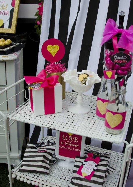 Modern Black And White Striped Bridal Shower Bridal