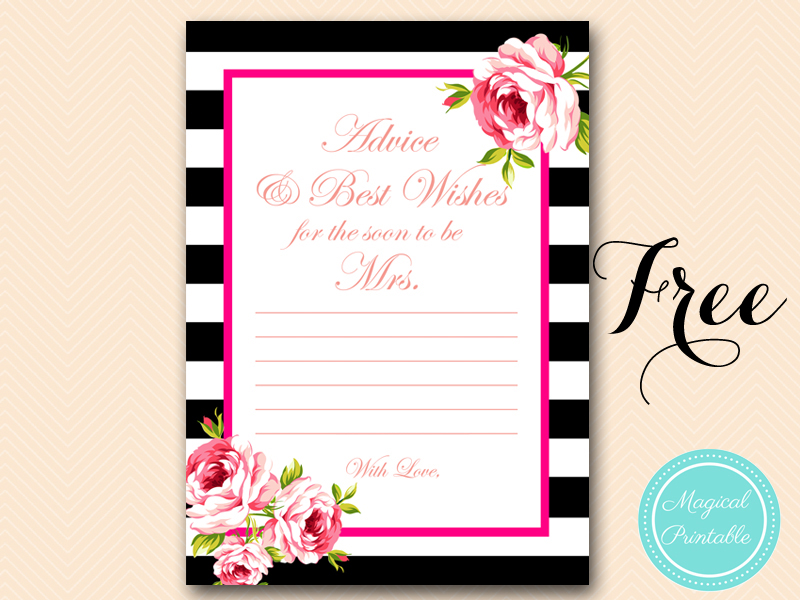 graphic about Free Printable Bridal Shower Advice Cards identify Free of charge Gold Black Stripes Bridal Shower Video games - Bridal Shower