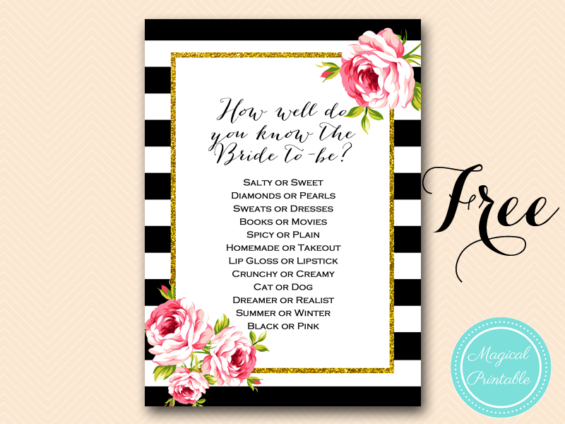 photograph about Free Printable Bridal Shower Games How Well Do You Know the Bride identify Totally free Gold Black Stripes Bridal Shower Game titles - Bridal Shower