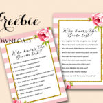 Free Pink Bridal Shower Game – Who Knows Bride & Groom